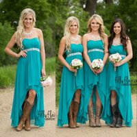 Wholesale Strapless Short Green Beach Dresses - Teal Beach Country Bridesmaid Dresses 2017 Short Wedding Chiffon Plus Size High Low Empire Pregnant Beaded Party Maid Honor Gowns Under 100