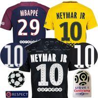 Wholesale Soccer Jerseys Paris - 2017-18 Psg Futbol Camisa Neymar Jr Mbappé Cavani Soccer Jersey Paris SG Football Camiseta Shirt Kit Maillot Ligue 1