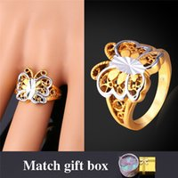 Wholesale Birthday Gifts For Woman - U7 Cute Butterfly Engagement Gold Ring 18K Real Gold Platinum Plated New Fashion Jewelry Perfect Birthday Gift for Women R916