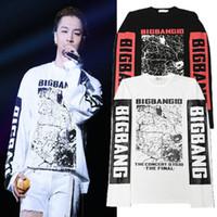 camiseta larga bigbang al por mayor-Moda otoño BIGBANG Camisetas para hombre Casual GD Camiseta de manga larga para hombre Camiseta blanca negra
