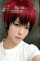 Wholesale Cheap Japanese Cosplay - Wholesale cheap Japanese Men's Mens Boy Red Black Mix Short Straight Hair Wigs Cosplay Anime Wig