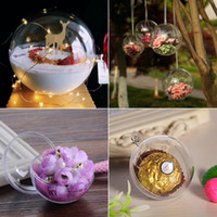 Wholesale Clear Plastic Baubles - 8cm Transparent Clear Plastic Christmas Ball Candy Box Fillable Ball Baubles Decor Wedding Christmas Tree Decoration wen4721