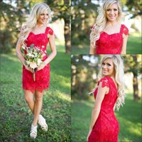 Wholesale Celebrity Dresses Vintage Style - 2016 Red Lace Cocktail Dresses Short Sheath Prom Gowns Cap Sleeve Knee Length with Appliques Celebrity Gowns Custom Country Style