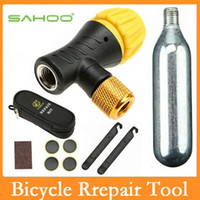 Wholesale Co2 Cycling - SAHOO Multi-function Bike Bicycle Rrepair Tools Kits With CO2 Inflatable Bottle Tire Pry Bar Tire Repair Paste Cycling Tools
