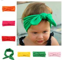 bandes de cheveux en tissu bébé achat en gros de-Baby Vintage élastique en tissu oreilles de lapin coiffe jolis bandeaux pour enfants vêtements de coiffure infantile mignon accessoires de cheveux bandeaux