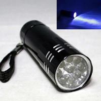 Wholesale Aluminum 9led Flashlight - 9LED Mini Aluminum UV Ultra Violet 9 LED Flashlight Blacklight Torch Light Lamp 50PCS