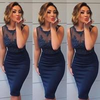 myriam fares sexy vestidos curtos venda por atacado-Sexy Royal Azul Vestidos de Cocktail 2019 Sheer Neck Applique Frisado Curto Vestidos de Noite Venda Quente de Celebridades vestidos de Festa Myriam Fares