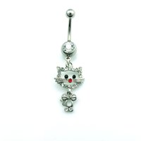 Wholesale Cat Body Piercing Wholesale - Fashion Belly Button Rings Stainless Steel Bar Silver Plated Rhinestone Cat Navel Rings Body Piercing Jewelry