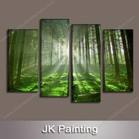 Wholesale Tree Pictures Decorative - 4 Piece Canvas Art Wall Decor Forest Painting Wall Art Canvas Tree Wall Pictures for Living Room--Wall Paintings Home Decorative