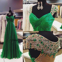 Wholesale wedding guest dress online - 2015 Evening Prom Pageant Wedding Guest Gowns Ca Sleeve Dresses With A Line Scoop Sheer Back Beads Crystals Green Chiffon New Long