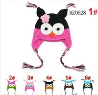 Wholesale Children Ear Muffs - 100pcs lot OWL Crochet Baby Hat Children Hat @K1 Stripes Beanie With Ear OWL Caps 3 Sizes Crochet Cap