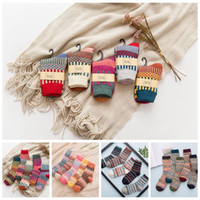 Wholesale Wind Socks - National Wind Wool Socks Men Women Vintage Winter Thicken Socks Rabbit Wool Crew Autumn Soft Warm Socks 2pcs Pair OOA3443