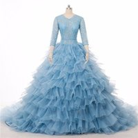 Wholesale Colored Wedding Dresses Winter - 2016 Luxury Light Blue Wedding Dress Real Photo Stunning Colored Chapel Train Bridal Gowns Ball 3 4 Long Sleeve Tiered Blue Wedding Gowns