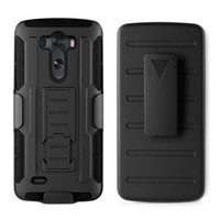 Wholesale Shell Holster Combo - Shockproof Case For LG G3 Hybrid Case Cover Belt Clip Holster Shell Combo Stand Heavy Duty Case