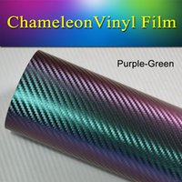 Wholesale Green Chameleon Carbon Fiber Wrap - 1.52x30m(5x98FT) car wrapping vinyl roll Purple-Green 3D carbon fiber chameleon Vinyl Wrap Decal Film stretch air bubble free