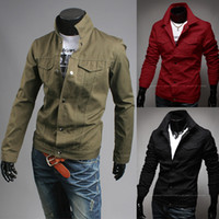 Wholesale Military Style Long Top - Top Sale! NEW 2014 Fashion Mens High Quality Canvas Short Style Casual College Varsity Jacket For Men Motorcycle Military Jacket