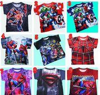 Wholesale Cartoon Tees For Kids - Kids Short Tshirts Super Heroes Cute Boys Cartoon Top Tees Children Clothing For 2-7yr free shipping