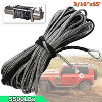 """Wholesale Wholesale Winch - Wholesale- 3 16"""" x 50' Synthetic Fiber Winch Line Cable Rope 5500 LBs Sheath ATV UTV Offorad 5mm*19.5m Gray Synthetic"""