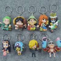 llavero de una pieza de anime al por mayor-9 unids / set One Piece Zoro Frank Luffy Brook Chopper Robin Nami Sanji Anime Llavero de colección figura de acción de PVC juguetes