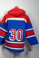 Wholesale Youth Hockey Hoodies Wholesale - Wholesale Youth #30 Henrik Lundqvist Blue Hockey Jerseys Hoodie Jersey 48-56 free shipping Mix order