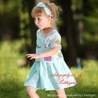 Wholesale new arrival dress for children for sale - Group buy Pettigirl New Arrival Girls Clothing Set With Print Cartoons Top And Drape Dress Children Blue Dresses For Summer Baby Wear CS80715