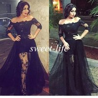 Wholesale Long Skirts One Side - Black Lace Prom Dresses Off the Shoulder High Low See Through with Sleeves Over Skirt Tulle 2016 Sexy Evening Gowns Party Celebrity Dresses