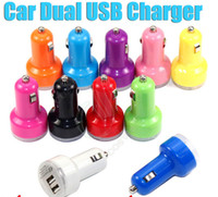 Wholesale Dual USB Car Charger Trumpet buglet mini Universal car Adapter passthrough for electronic ipad iphone S PDA MP4 e cigs smart Cell phone