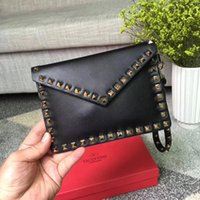 Wholesale calfskin head - 2018 New casual three styles the imported head calfskin genuine leather twelve colors with rivets chains top high quality women shoulder bag