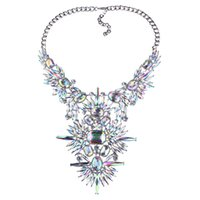 Wholesale Necklace Statment - Costume Jewelry & Statment Necklace with Colorful Glass Beads & Silver Tone Chain Crystal Glass for Women Fashion Necklace jewelry