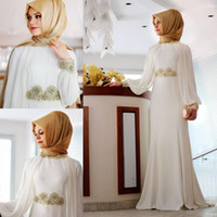 Wholesale Sequins Hijab - New White Long Sleeves High Neck Muslim Evening Dress with Hijab Beaded Mermaid Arabic Dubai Prom Dresses Party Gowns Special Occasion Dress