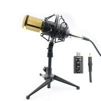 micrófono ktv al por mayor-Profesional BM-800 BM 800 Micrófono de condensador Pro Audio Studio Micrófono de grabación vocal KTV Karaoke Micrófono de escritorio Metal Shock Mount