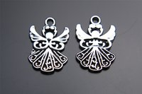 Wholesale Wholesale Goddess Pendants - Top Sale 200pieces 20mm Angel goddess Charms Bead Spacer connector Pendant 7200 925 Tibet Silver DIY Jewelry Beads Europe Bracelet Necklace