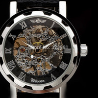 handgolduhren für männer großhandel-2019 neue Mode Skelett Gewinner berühmte Design-Stil hohlen Business Leder klassische Männer mechanische Hand Wind Handgelenk Armee Uhr