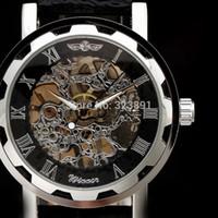 kazanan mekanik el sarma saatler toptan satış-2019 yeni moda İskelet kazanan ünlü tasarım stil hollow İş deri klasik erkekler mekanik el rüzgar bilek ordu İzle