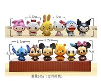 Wholesale Cute Winnie Pooh - Cute Cartoon HelloKitty Doraemon minnie Mickey Mouse Stitch Winnie the Pooh PVC toys Collectible Action Figure doll toy12 style