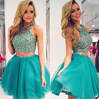 Wholesale Exquisite Short Homecoming Dresses - Luxury Sparkly Hunter Tulle Homecoming Dresses New Two Pieces Short Prom Party Gowns with Exquisite Crystals Top Custom Made