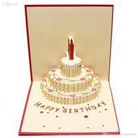 Wholesale Origami 3d Cards - Handmade Kirigami & Origami 3D Pop UP Birthday Cards with Candle Design For Birthday Party Free Shipping (set of 10)