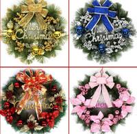 Wholesale Ring Christmas Garland - 50CM Christmas Tree Wreath christmas decoration gift garland hangings red christmas wreath ring base door hanging garishness decorations C40