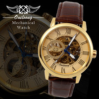 Wholesale Skeleton Automatic Mechanical Watch Sale - Hot Sales Mens Skeleton Automatic Mechanical Watches Business Style with Leather Belt Classic Roman Number Dial Analog Wristwatch