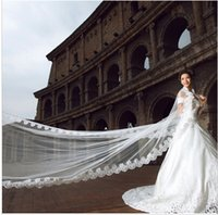 Wholesale Women Wedding Veils - Wedding Veil 5 Meters Long Bridal Head Veils Top Quality Cathedral Veil Ivory   White Color Lace Women Wedding Accessories