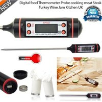Wholesale Digital Multi Gauge - Digital Cooking Food Probe Meat Household Thermometer Gauge Kitchen BBQ 4 Buttons Stainless Steel Food Cooking BBQ Meat Steak Probe E8M