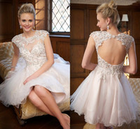 Wholesale Cheap Pink Kids Prom Dresses - 2015 Cute White Short Prom Dresses Cheap High Neck Applique Tulle Kids Girls Homecoming Girls Graduation Dress Gowns Party Cocktail Dress