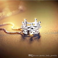 Wholesale Diamante Crowns - Free shipping 925 sterling silver diamante hollow charm crystal crown pendant necklace jewelry