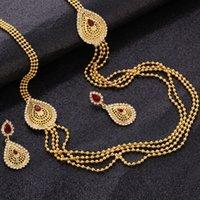 ingrosso 14k catene d'oro turco-Hesiod Set di gioielli da sposa africani colore oro turchese Waterdrop multistrato collane a catena pendenti orecchino di tendenza per le donne
