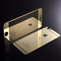 Wholesale Iphone 4s Color Screen Film - IPhone 6 4.7'' 6 plus 5.5''inch 4S 5S Full Screen Color Mirror Effect Front Back Protector Premium Tempered Glass Toughened protective film