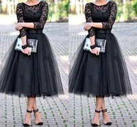 Wholesale Tulle Ball Gown Junior Bridesmaid - 2015 bridesmaid dresses 3 4 Long Sleeves Tulle Skirt Bridal Shower Tea Length cheap free shipping