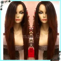 Wholesale Ombre Glueless Silk Top Wigs - Top Grade Brazilian Virgin Hair Lace Front Wigs Long Silk Straight Full Lace Human Hair Wigs for black women Glueless Full Lace Wigs