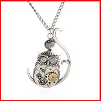 Wholesale Steampunk Owl Pendant - Punk necklaces Vintage Steampunk Alloy animal Gear Owl Pendants Necklaces metal statement jewelry detail package gift 160198