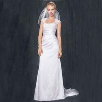 Wholesale Satin Charmeuse Wedding Dresses - Slim Charmeuse with Lace Keyhole Back 4XLT3342 Wedding Dresses Cap Sleeves Sheath Bridal Dress vestido de noiva curto renda