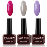 Wholesale Cheap Gel Nail Sets - Wholesale-Gel Len UV Gel Nail Polish Set Wholesale Cheap Soak off uv led gel lacquer 30 days long lasting Lot of 3 for Nail art